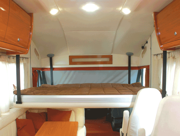 Lippert components to distribute over cab bed lift system for Rv loft bed