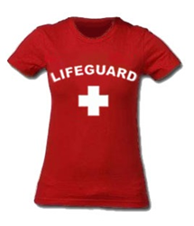 RED WOMEN'S LIFEGUARD T-SHIRT