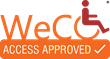 "WeCo's seal contains the words ""Access Approved"" beneath the word ""WeCo"" and an image of a person seated in a wheel chair fashioned from the letter ""o."""