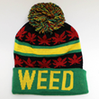 SK1165 WEED LEAVES POM POM BEANIE HATS