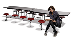 Afton II adjustable torsion cap cuvaceous s-shape table mobile folding cafeteria school rolling