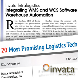 Invata Intralogistics included in 20 Most promising Logistics Solutions Providers.