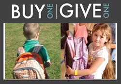 backpacks and school supplies donated to kids in need through buy one, give one business model