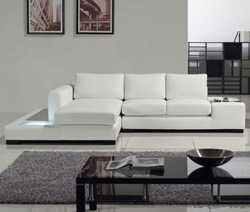 Tosh Furniture Modern White Compact Leather Sectional Sofa TOS-LF-2029-Comp-LT-781-LSF