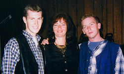 Peggy with her sons Christian (left) and Liam in 1995