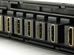 HDMI Couplers Inserted into a High-Density Patch Panel