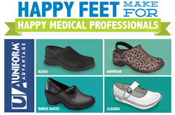 Picking the right nursing shoe is a critical wardrobe choice for healthcare, dental and veterinary professionals. Uniform Advantage's infographic outlines the popular brands of nursing shoes worn  and how to pick the best nursing shoe.