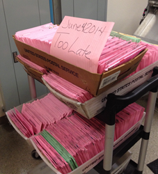 Trays of Primary election ballots that arrived too late to count in Sacramento County