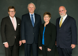 Left to right: BVU President Fred Moore; Harry and Molly Stine; Dr. James Hampton, professor of biology at BVU and chair for the endowment