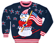 patriotic snowman sweater from my ugly Christmas sweater