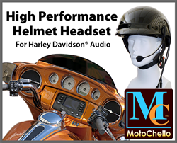 photo of MotoChello high performance headset for Harley Davidson audio systems