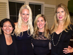 L-R: Cathy Sisneros Chung of Sense of Security California (SOSC); Claire Farwell of Claire Farwell London; hostess Claire Fedder; and Jill Fraser of Jill Milan at the trunk show to benefit SOSC.