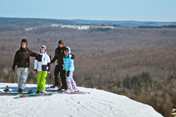 Snowboarders on Schuss Mountain
