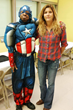"Julie Hall , Director of Solutions Day program, with Tony ""Captain America"""