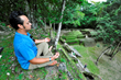 DJ Taz Rashid meditates in the Mayan Ruins of Tulum, Zen Cruise 2014