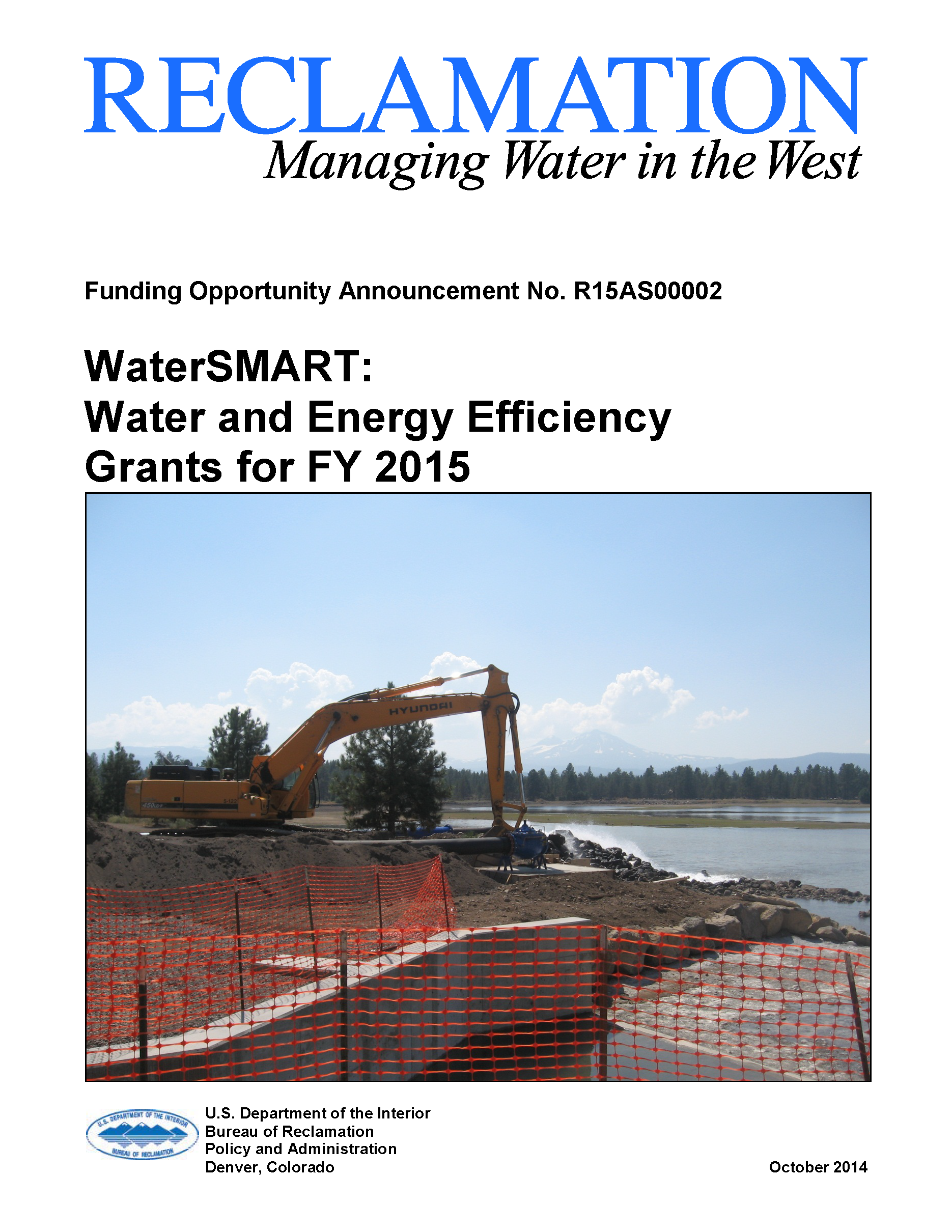 Watersmart grants available from bureau of reclamation to conserve water and improve energy - Us bureau of reclamation ...