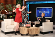 "Lena Dunham (l) and Melissa McCarthy play Ellen's Heads Up! game on the ""Ellen"" show. Heads Up! videos will be featured on ellentube, DeGeneres' new digital destination. (© WBEI/Michael Rozman.)"