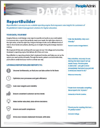Reporting solution for Talent Management for Higher Education Human resources. SelectSuite ReportBuilder Datasheet