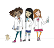Yellow Scope Science Girls and their Lab Rat Friend