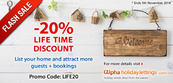 AlphaHolidayLettings.com Flash Sale - 20% Lifetime Discount