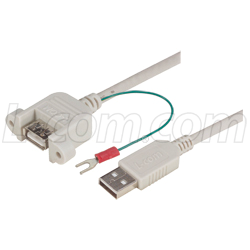 Panel Mount USB Cable with Ground Wire