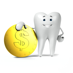 An illustration of a tooth next to a dollar sign