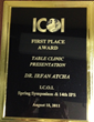 First Place Award at the International Congress Of Oral Implantologists (ICOI)