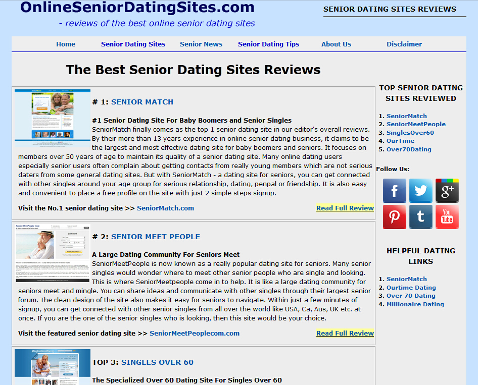Senior single dating sites