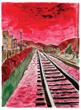 Image credit:  © Bob Dylan. Train Tracks, 2014. 24 x 26 in.