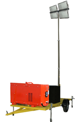 30' Pneumatic Telescoping Light Tower Mounted to a Trailer