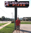 Little Caesars LED Sign with owner, Joe Daniel