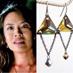 Emily C. Chang wears LoveYourBling's Trinity Earrings on The Vampire Diaries