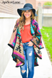 Apricot Lane bright colored poncho, winter hat and denim perfect for all body types!
