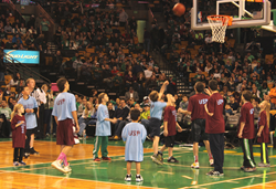 Disabled athletes at the 2013 Celtics Experience play basketball at TD Garden.