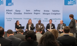 P2Binvestor cofounder and President Krista Morgan speaking on a panel about small business lending in the U.S. at the AltFi Global Summit in New York on November 4, 2014. Photo credit: Brad Johnston