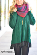 Plain Blanket Scarf with Green Sweater