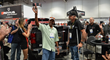 Van T. Free III accepts the keys to the 2014 AED Performance/RacingJunk Chevy Silverado at the Weld Racing booth at SEMA 2014.