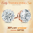 DiamondStuds.com Customers Will Receive 20% off this Thanksgiving...