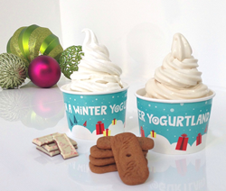 frozen yogurt, Yogurtland, flavor, custom, hand-crafted, new, cookie butter, speculoos, white chocolate, peppermint