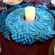 Fypon ceiling medallion decorated as a tabletop centerpiece.