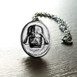 This subtle yet strong, black hematite Darth Vader necklace from Her Universe will show others your ability to flaunt the dark side of fashion. Designed at The Sparkle Factory.