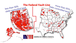 Map Showing the Inequity of  Federally Controlled Land, East vs. West.