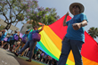 Marchers in the Annual Gay Pride Parade in West Hollywood