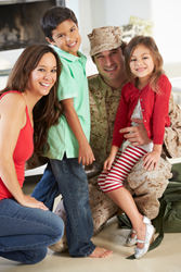 U.S. Veterans stock photo with family