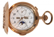 LOT 1 High-grade unsigned Swiss triple date moon phase chronograph minute repeater pocket watch, with dust cover inscribed in German and dated 1907 (est. $3,500-$4,500). LOT 1 High-grade unsigned Swiss triple date moon phase chronograph minute repeater po