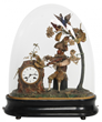 "Lot 106: Rare and unusual animated and musical figural clock with a monkey seated under a tree, French movement signed ""Japy Freres"" (est. $10,000-$15,000)."
