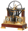 Lot 131: French industrial animated steam engine clock, with bronze and rouge marble case, aneroid barometer and thermometers (est. $20,000-$25,000).