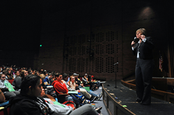 Salt Lake Community College President Deneece Huftalin urges Taylorsville High School seniors to apply for college.