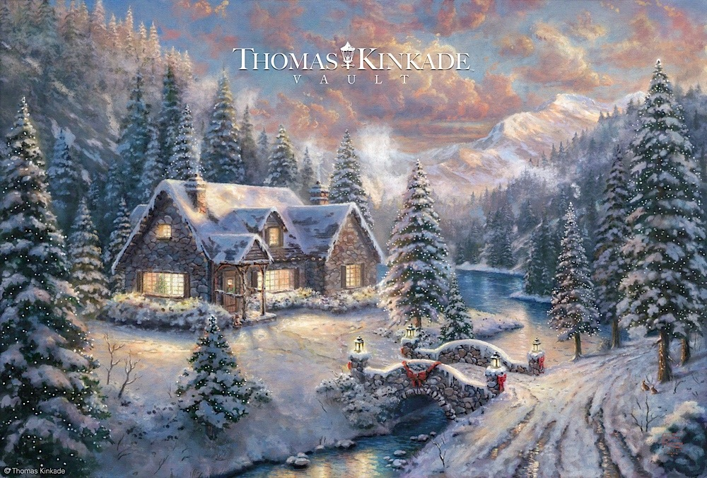 rare christmas painting release from the thomas kinkade vault. Black Bedroom Furniture Sets. Home Design Ideas