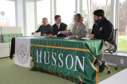(From left to right) Dr. Mark Kavanaugh, KVCC; Dr. Jon Connolly, KVCC; Dr. Patricia Bixel, Husson University; and Dr. Christopher Howard, Husson University